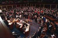 1989年1月、連邦議会議事堂の下院会議場で就任宣誓を行う下院議員たち