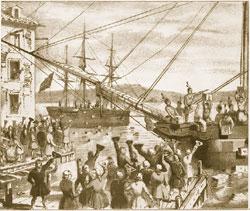 英国による課税に対する抗議として発生した「ボストン茶会事件」(1773年)(Library of Congress)