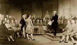 1787年、フィラデルフィアで開催された憲法制定会議で演説をするジョージ・ワシントン。(Virginia Museum of Fine Arts, Richmond. Gift of Edgar William and Bernice Chrysler Garbisch.)